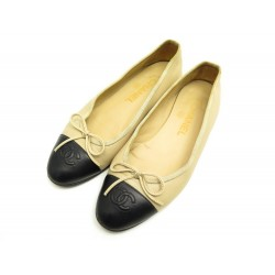 CHAUSSURES CHANEL BALLERINES LOGO CC G02819 36.5 CUIR BEIGE LEATHER SHOES 670€