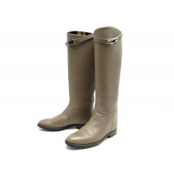 CHAUSSURES HERMES BOTTES JUMPING 36 CUIR TAUPE + BOITE FERMOIR KELLY BOOTS 2010€
