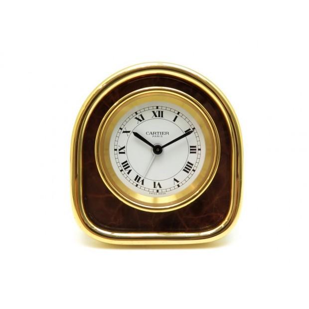 VINTAGE PENDULETTE CARTIER REVEIL DE VOYAGE 7504 EN PLAQUE OR DORE TRAVEL CLOCK