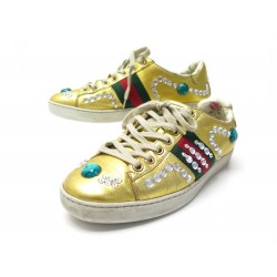 CHAUSSURES GUCCI BASKETS ACE STRASS 471939 36 IT 37 FR CUIR DORE SNEAKERS 650€