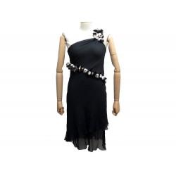 ROBE BUSTIER FENDI FD5901INA M 40 EN SOIE NOIR FLEURS EN PLUME SILK DRESS 2200€