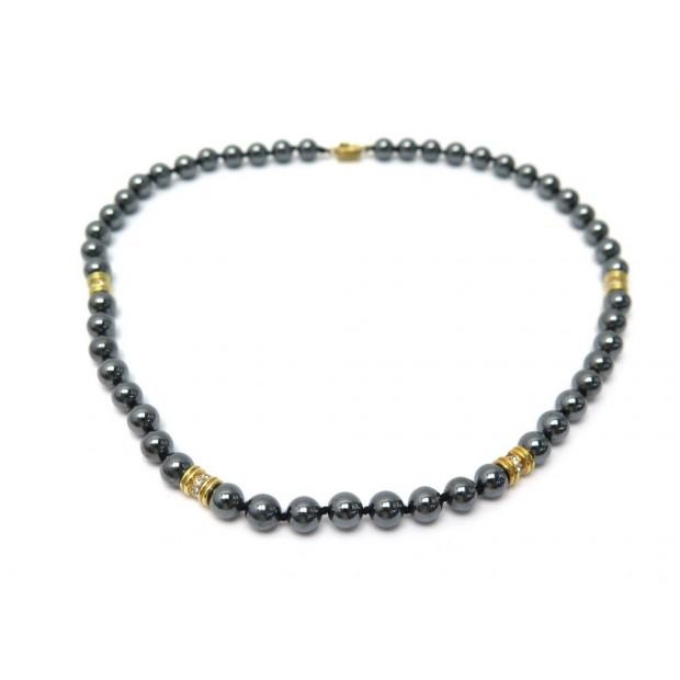 COLLIER 51 CM EN PERLES NOIRES OR JAUNE & DIAMANTS BLACK PEARLS & GOLD NECKLACE