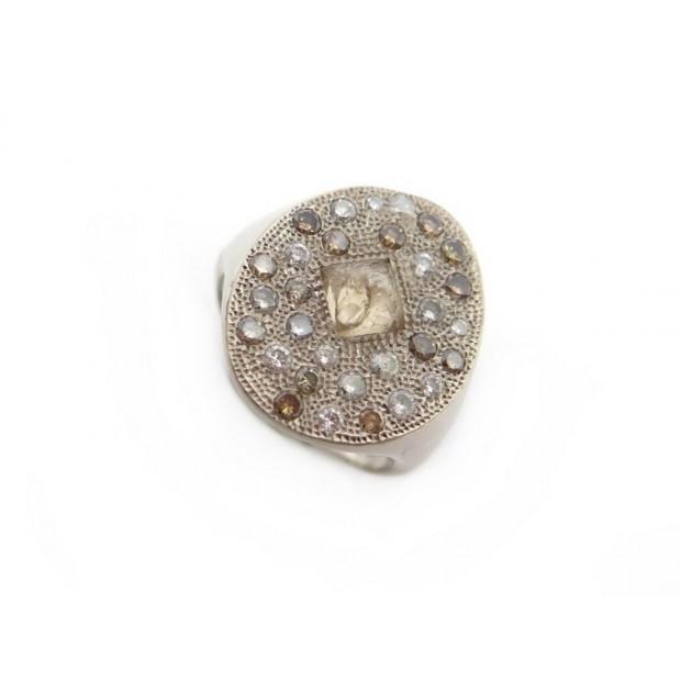 BAGUE DE BEERS TALISMAN T 52 OR BLANC 18K 31 DIAMANTS GOLD DIAMONDS RING
