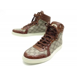 NEUF CHAUSSURES GUCCI BASKETS CODA HIGH TOP TOILE GUCCISSIMA 7.5 41.5 SHOES 550€