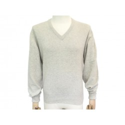 NEUF PULL HERMES COL V M 48 EN CACHEMIRE TAUPE CASHMERE NEW SWEATER 1350€