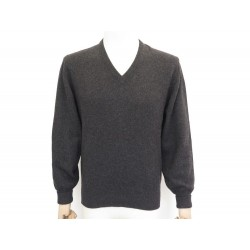 NEUF PULL HERMES COL V M 48 EN CACHEMIRE ANTHRACITE CASHMERE NEW SWEATER 1350€