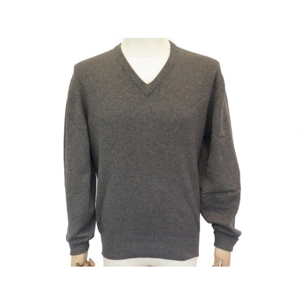 NEUF PULL HERMES COL V L 52 EN CACHEMIRE GRIS GREY CASHMERE NEW SWEATER 1350€