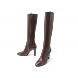NEUF CHAUSSURES YVES SAINT LAURENT BOTTES LILY 440854 40 CUIR MARRON SHOES 1395€