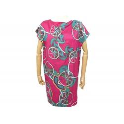 NEUF ROBE HERMES IMPRIME ROUES EN ROSE FUSHIA ROSE M 40 NEW SILK DRESS 2000€