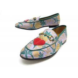 CHAUSSURES GUCCI MOCASSINS JORDAAN TOILE ANANAS 431466 36 IT 37 FR LOAFERS 650€