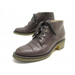 CHAUSSURES CHANEL BOTTINES G29044 41 EN CUIR TAUPE LEATHER BOOTS SHOES 1400€