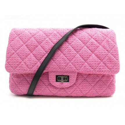 NEUF SAC A MAIN CHANEL BESACE CLASSIQUE 2.55 GM EN TWEED ROSE A47692 HAND BAG