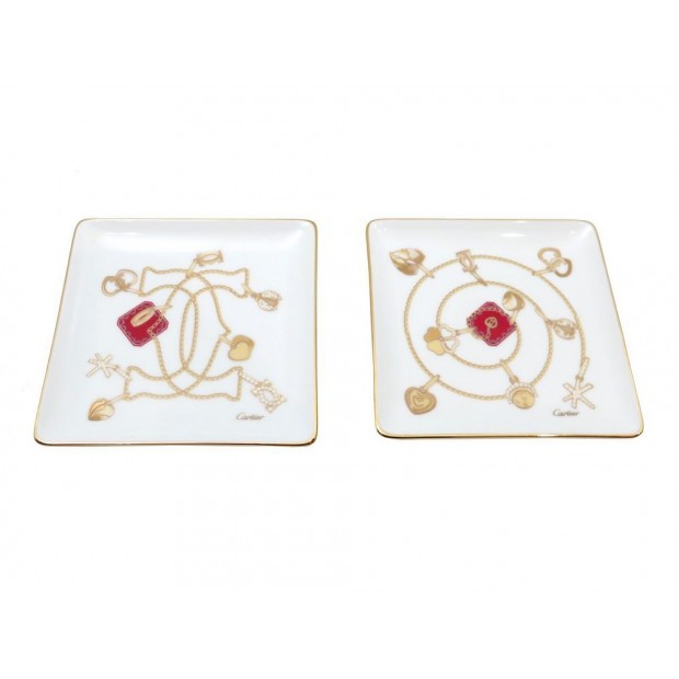 NEUF LOT DE 2 VIDES POCHES CARTIER SET TRINKET TRAYS CHARMS T1120011 PORCELAINE