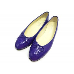 NEUF CHAUSSURES CHANEL BALLERINES LOGO CC 40 G02819 CUIR VERNI VIOLET SHOES 670€