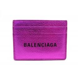NEUF PORTE CARTE BALENCIAGA LOGO 490260 EN CUIR ROSE LEATHER CARD HOLDER 195€