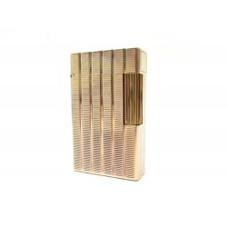 BRIQUET ST DUPONT LIGNE 2 GUILLOCHE EN METAL PLAQUE OR DORE GOLDEN LIGHTER 790€
