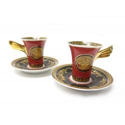 NEUF LOT 2 TASSES A CAFE ET SOUCOUPES VERSACE MEDUSA PORCELAINE NEW CUPS 410€