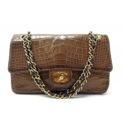 VINTAGE SAC A MAIN CHANEL CLASSIQUE TIMELESS EN CUIR CROCODILE MARRON HAND BAG