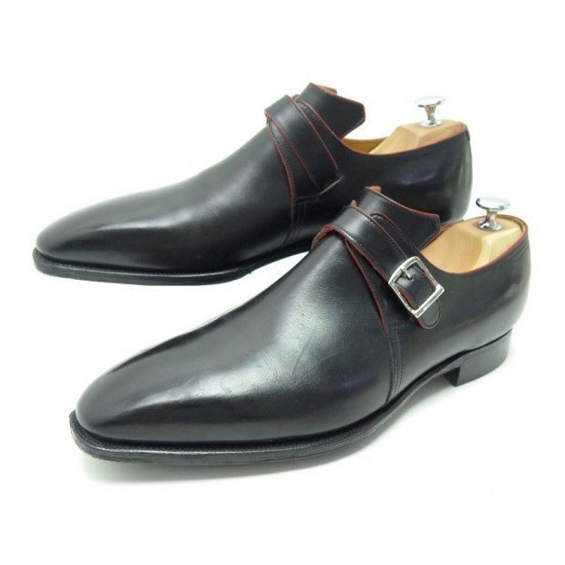 CHAUSSURES CORTHAY ARCA BOUCLE 10.5 44.5 MOCASSINS CUIR NOIR LOAFERS SHOES 1450€
