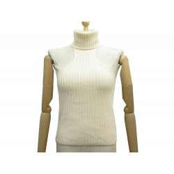 NEUF PULL GUCCI SANS MANCHES COL ROULE S 36 EN CACHEMIRE BEIGE NEW SWEATER