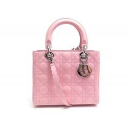 SAC A MAIN CHRISTIAN DIOR LADY M CUIR CANNAGE VERNIS ROSE BANDOULIERE BAG 3900€