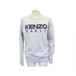 NEUF PULL KENZO SWEAT LOGO 5SW000 S 46 EN COTON GRIS NEW COTTON SWEATER 175€