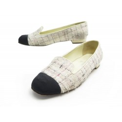 CHAUSSURES CHANEL MOCASSINS G33678 EN TWEED BLANC + BOITE LOAFERS SHOES 990€