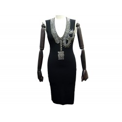 NEUF ROBE SANS MANCHES GIVENCHY TAILLE M 38 EN VISCOSE & STRASS NOIR DRESS 2390€