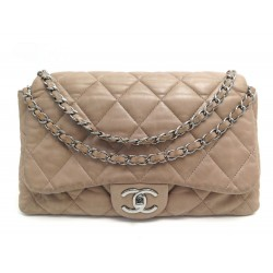 SAC A MAIN CHANEL TIMELESS JUMBO CUIR MATELASSE TAUPE BANDOULIERE HAND BAG 6500€