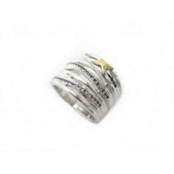BAGUE MAUBOUSSIN KIFF & KISS 53 ARGENT 925 & DIAMANTS NOIRS + BOITE RING 695€