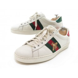 CHAUSSURES GUCCI BASKETS 429446 ACE BRODEES 42 CUIR BLANC + BOITE SNEAKERS 540€