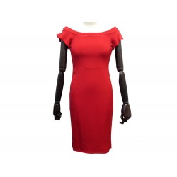 NEUF ROBE VALENTINO S 36 4 EN ACETATE & SOIE ROUGE RED SILK NEW DRESS 2100€