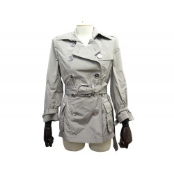 IMPERMEABLE BURBERRY TRENCH COURT M 40 MANTEAU POLYESTER ARGENTE COAT 795€
