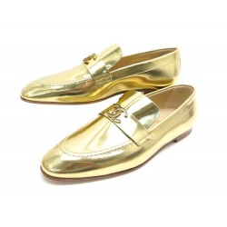 NEUF CHAUSSURES CHANEL G33153 MOCASSINS 39 CUIR DORE LEATHER FLAT SHOES NEW 790€