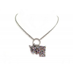 COLLIER CHRISTIAN DIOR PENDENTIFS CHARMS STRASS ABEILLES COEUR NECKLACE 640€