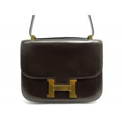 VINTAGE SAC A MAIN HERMES CONSTANCE 24 MM CUIR BOX MARRON H DORE HAND BAG 7750€