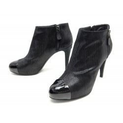 NEUF CHAUSSURES CHANEL G28558 41 BOTTINES A TALONS TOILE NOIR +BOITE BOOTS 1135€
