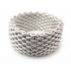 NEUF BAGUE TIFFANY & CO SOMERSET T 52 MAILLE ARGENT MASSIF 925 SILVER RING 350€