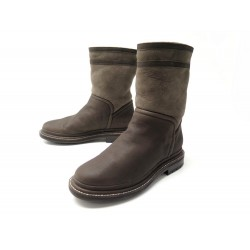 NEUF CHAUSSURES CHANEL G30154 36 BOTTES FOURREES CUIR MARRON LOW BOOTS 1215€