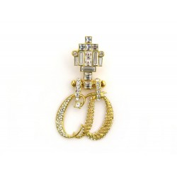 NEUF VINTAGE BROCHE CHRISTIAN DIOR INITIALES CD METAL DORE ET STRASS BROOCH 490€