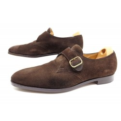 CHAUSSURES JOHN LOBB FOULD 12E 46 MOCASSINS A BOUCLES EN DAIM MARRON SHOES 1445€