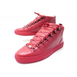 NEUF CHAUSSURES BALENCIAGA BASKETS ARENA 43 CUIR ROUGE 412381 NEW SNEAKERS 450€