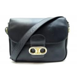 VINTAGE SAC A MAIN CELINE TRIOMPHE CUIR BOX BLEU MARINE + BOITE LEATHER HAND BAG