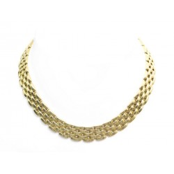 VINTAGE COLLIER CARTIER MAILLE PANTHERE 5 RANGS EN OR JAUNE 130G NECKLACE 30000€