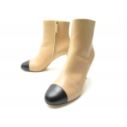 NEUF CHAUSSURES CHANEL BOTTINES TALONS G33551 39.5 CUIR BEIGE BOITE BOOTS 1550€