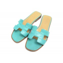 CHAUSSURES HERMES SANDALES MULES ORAN 36 CUIR TURQUOISE LAGON + BOITE SHOES 495€