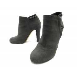 NEUF CHAUSSURES CHANEL BOTTINES G29928 40 EN DAIM GRIS NEW BOOTS SHOES 1400€