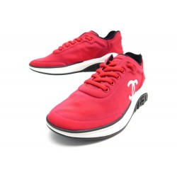 NEUF CHAUSSURES CHANEL BASKETS TENNIS G34763 37.5 TOILE ROUGE NEW SNEAKERS 920€