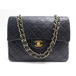 VINTAGE SAC A MAIN CHANEL TIMELESS CLASSIQUE MM CUIR BLEU NAVY PURSE BAG 6850€