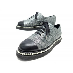 NEUF CHAUSSURES CHANEL LACE UP PERLES G32357 40.5 TOILE GRIS + BOITE SHOES 1100€